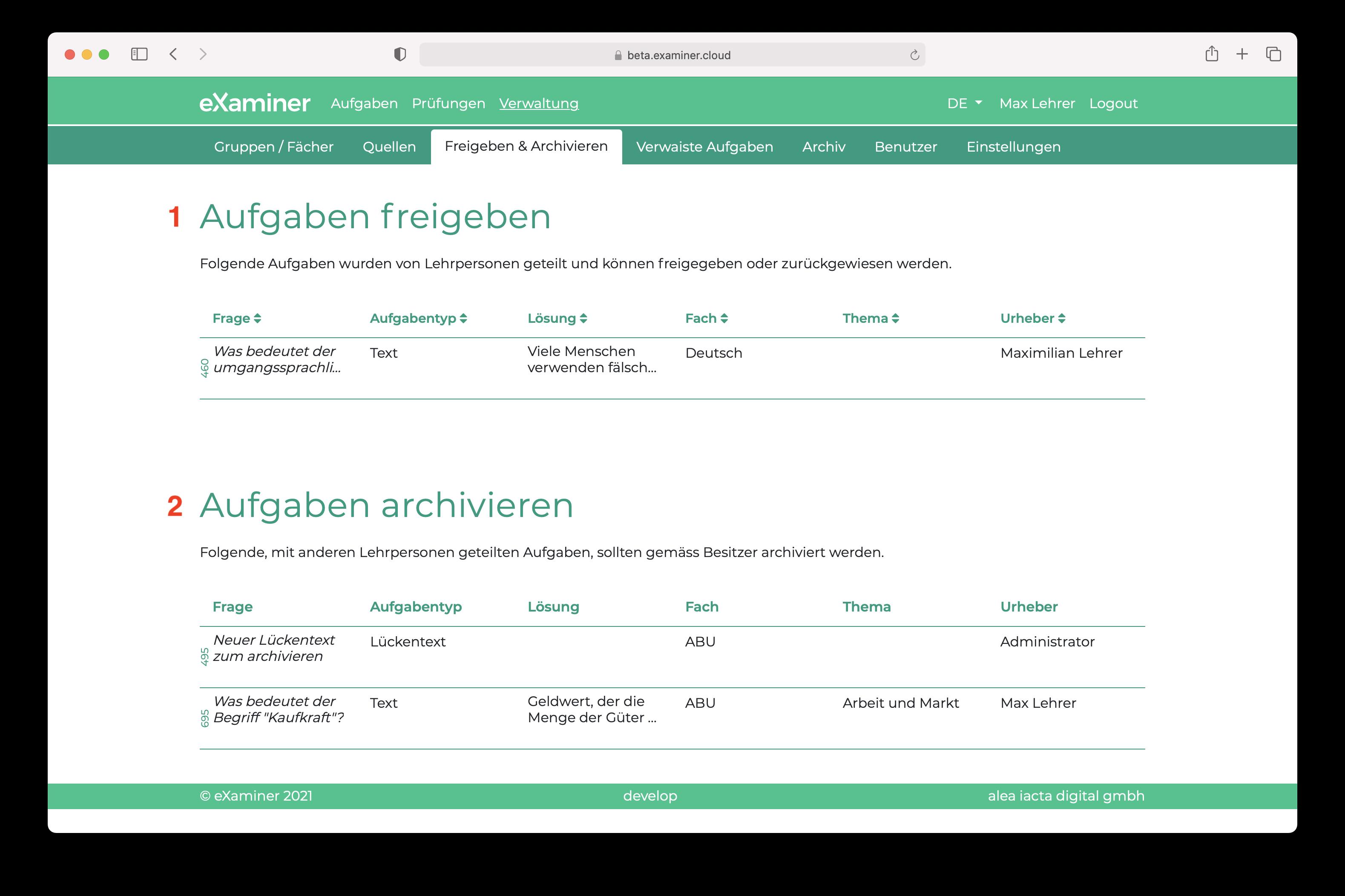 Screenshot vom Bereich wo Aufgaben freigegeben und archiviert werden können. Zwei Tabellen listen die entsprechenden Aufgaben auf.