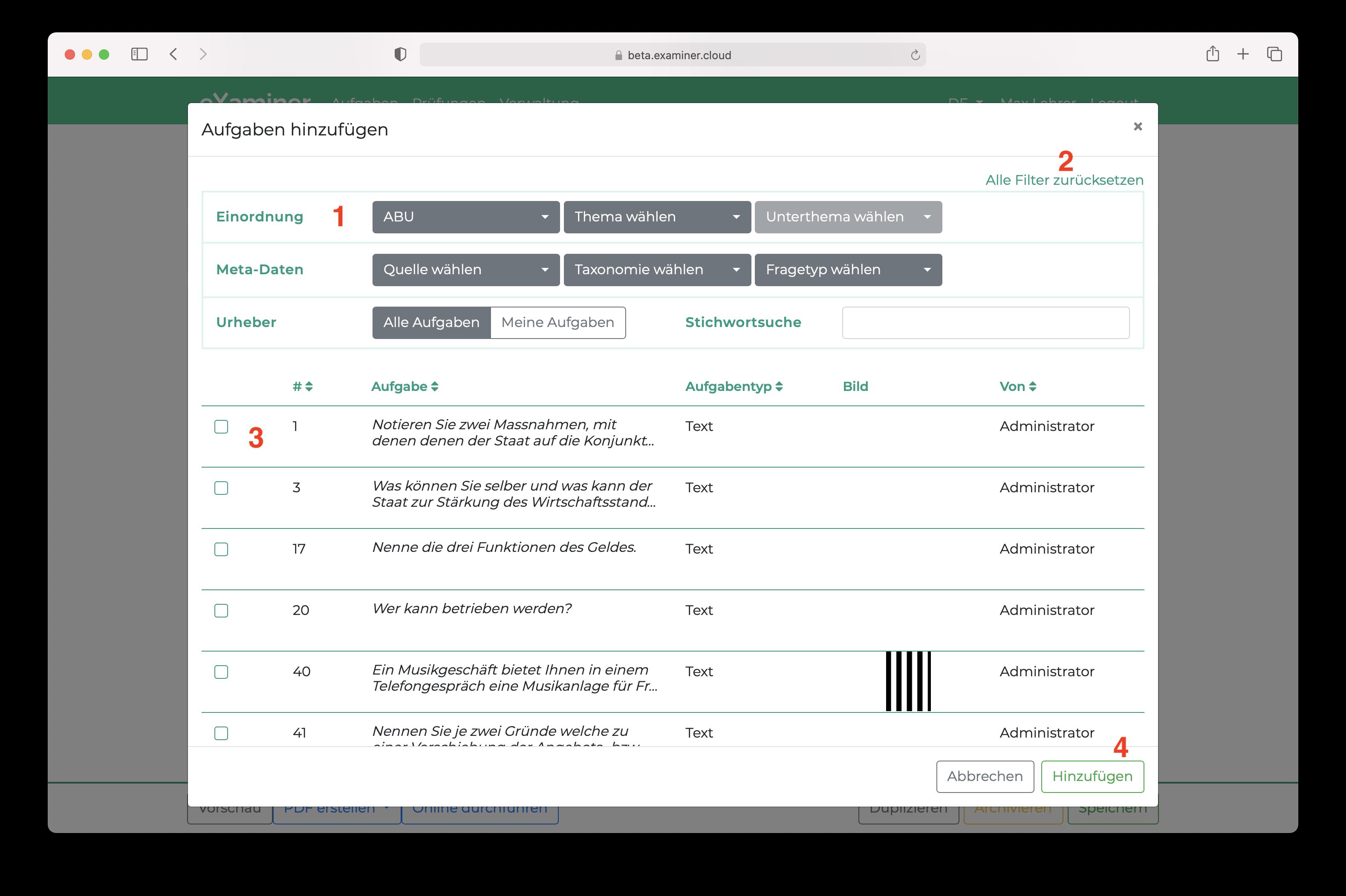 Screenshot des Dialogs um Aufgaben einer Prüfung hinzuzufügen. Die Aufgaben sind in einer Tabelle aufgelistet und können durch einen Filter gefiltert werden.