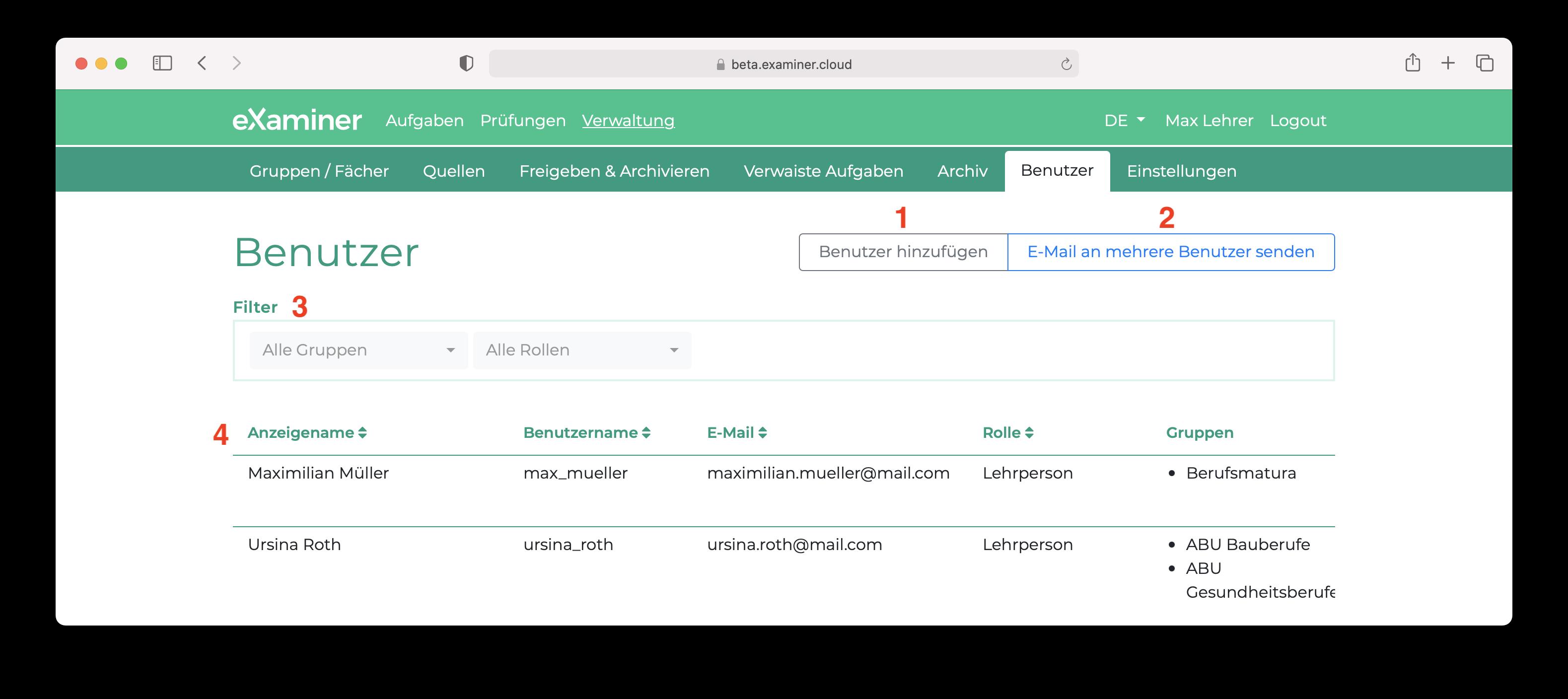 Screenshot der Benutzerverwaltung.