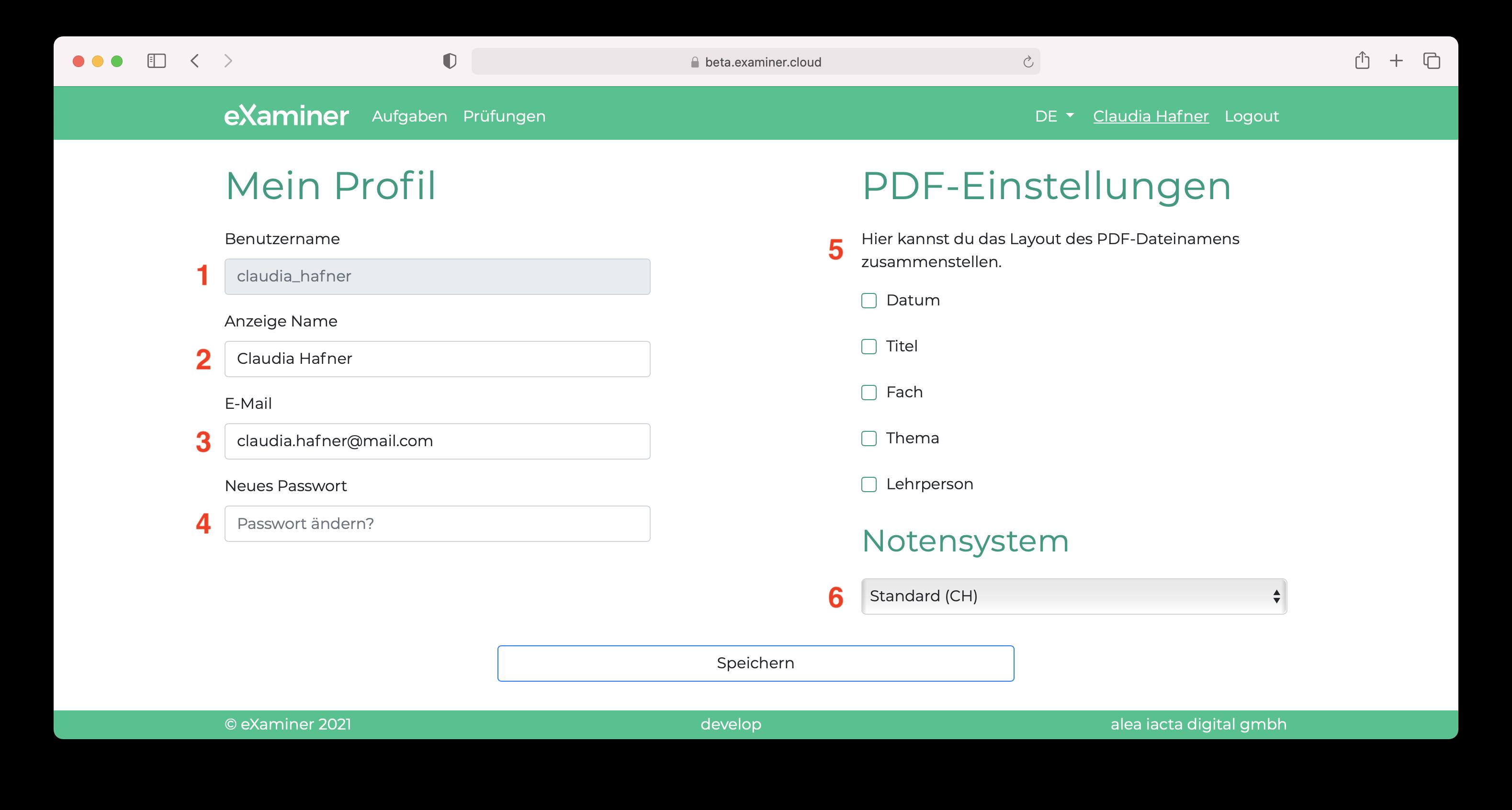 """Screenshot der Einstellungen im """"Mein Profil""""."""