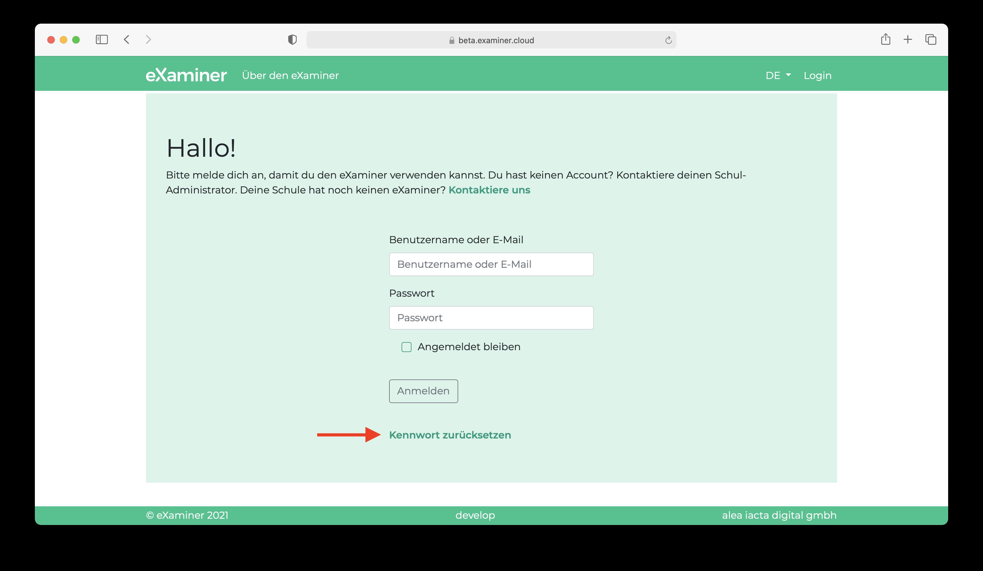 """Screenshot von der Login-Seite wo die """"Passwort zurücksetzen""""-Funktionalität markiert ist."""