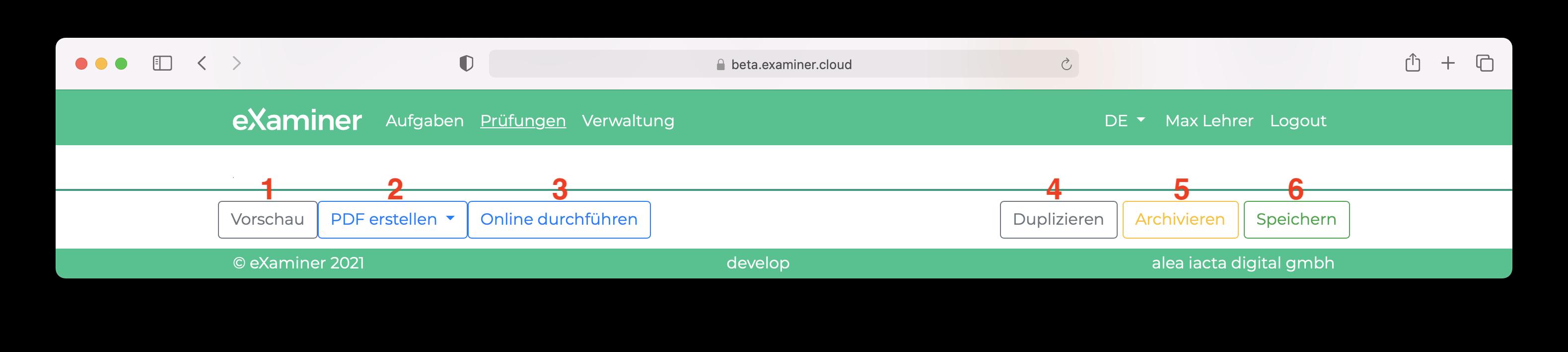 Screenshot der Aktionsbar (Buttons), welche bei der Prüfung zur Verfügung steht.