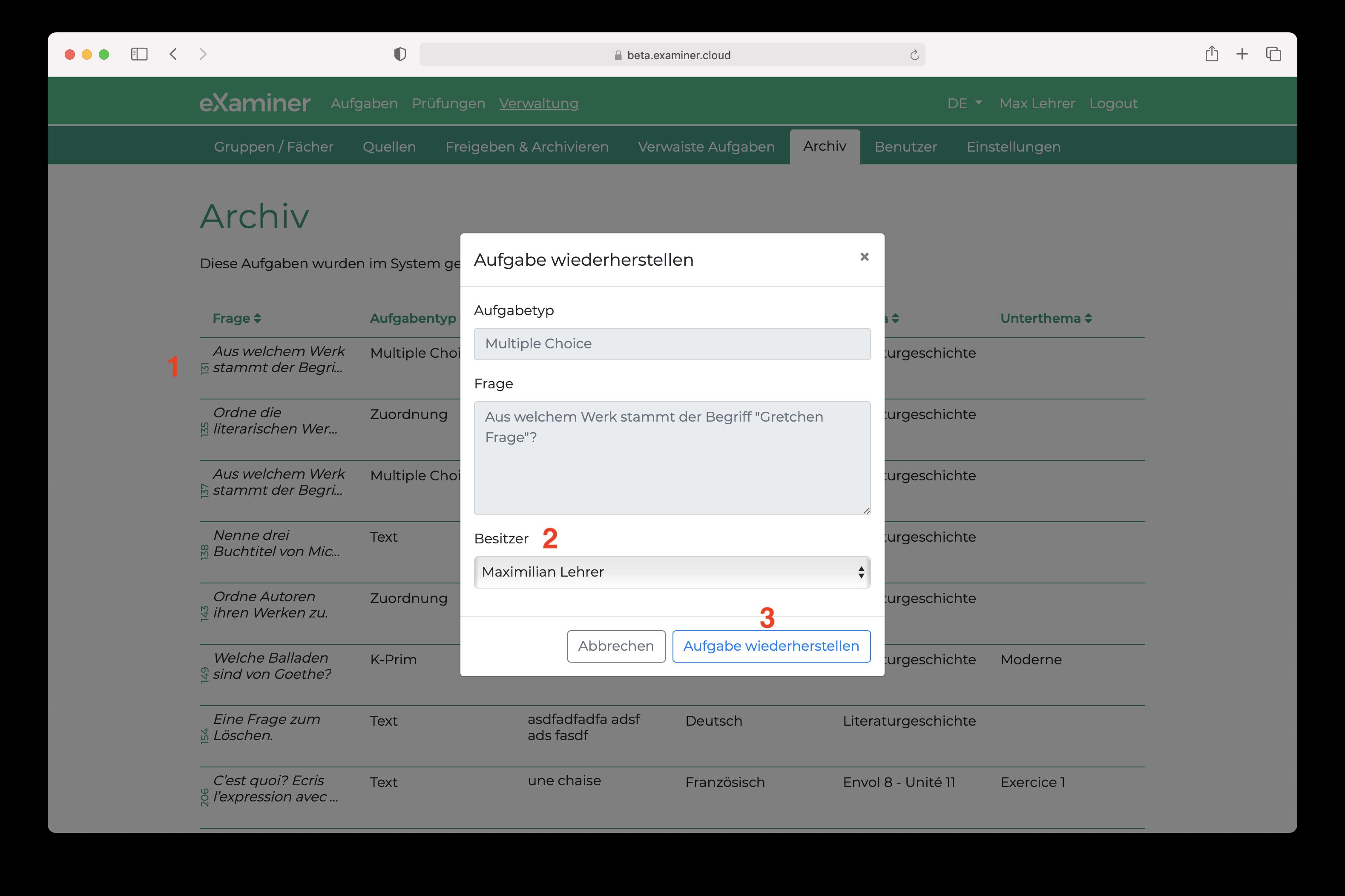 Screenshot vom Archiv aller Aufgaben und der Dialogbox zum Wiederherstellen einer Aufgabe.